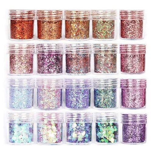 20 Bottles of Glitter Sequins - Mix of Colors