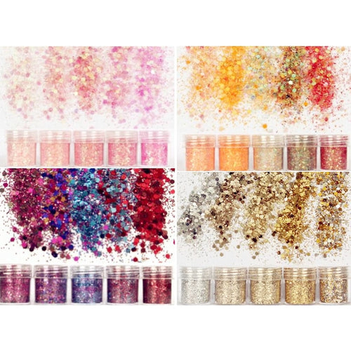 5 bottles of Colorful Glitter