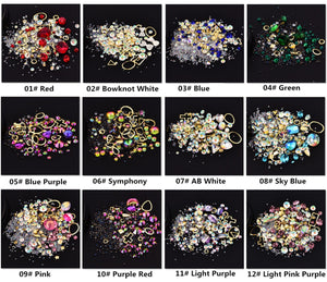 12pc Mixed Crystal Stud Embellishments
