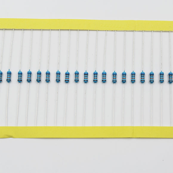 100pcs 1/4W Metal Film Resistor 120KΩ - 1MΩ, 1% tolerance, 0.25W