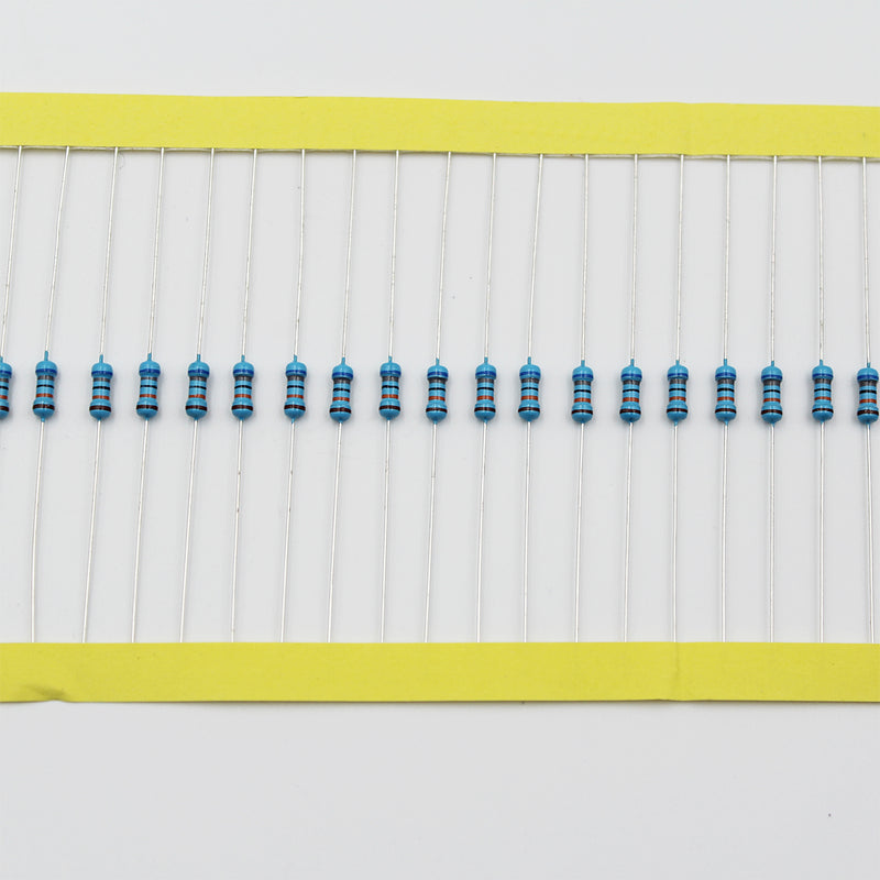 100pcs 1/4W Metal Film Resistor 1.2KΩ - 10KΩ, 1% tolerance, 0.25W