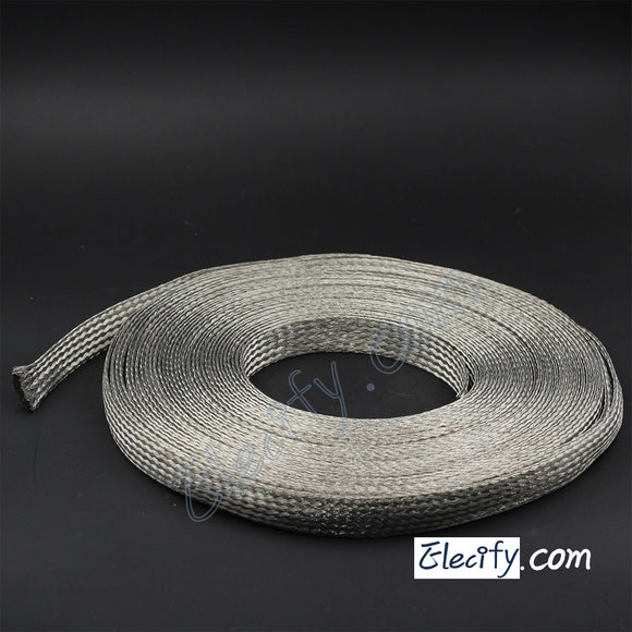 1m 3.3ft 15mm Flat Tinned Copper Braid cable,tin plating copper shield tube