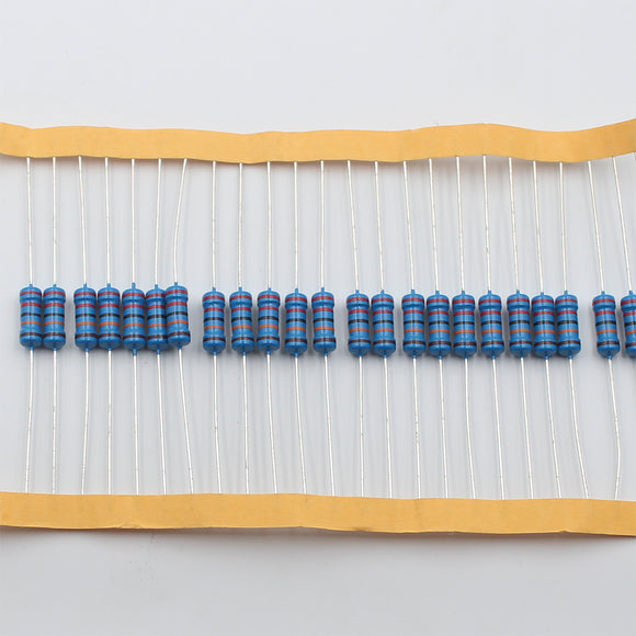 20pcs 1W Metal Film Resistor 12Ω - 100Ω, 1% tolerance