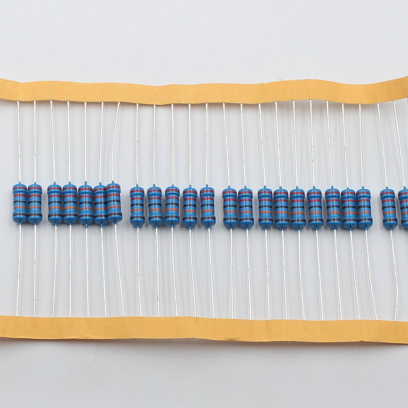 20pcs 1W Metal Film Resistor 1.2KΩ - 10KΩ, 1% tolerance