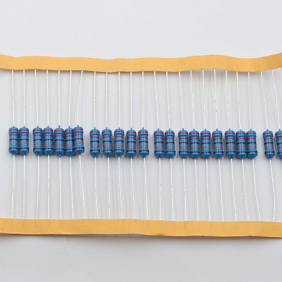 20pcs 1W Metal Film Resistor 12KΩ - 100KΩ, 1% tolerance