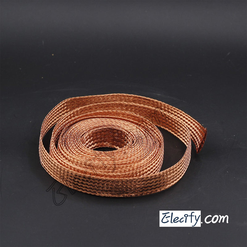 1m 3.3ft, 30mm Flat Copper Braid cable,Bare copper braid wire, ground lead