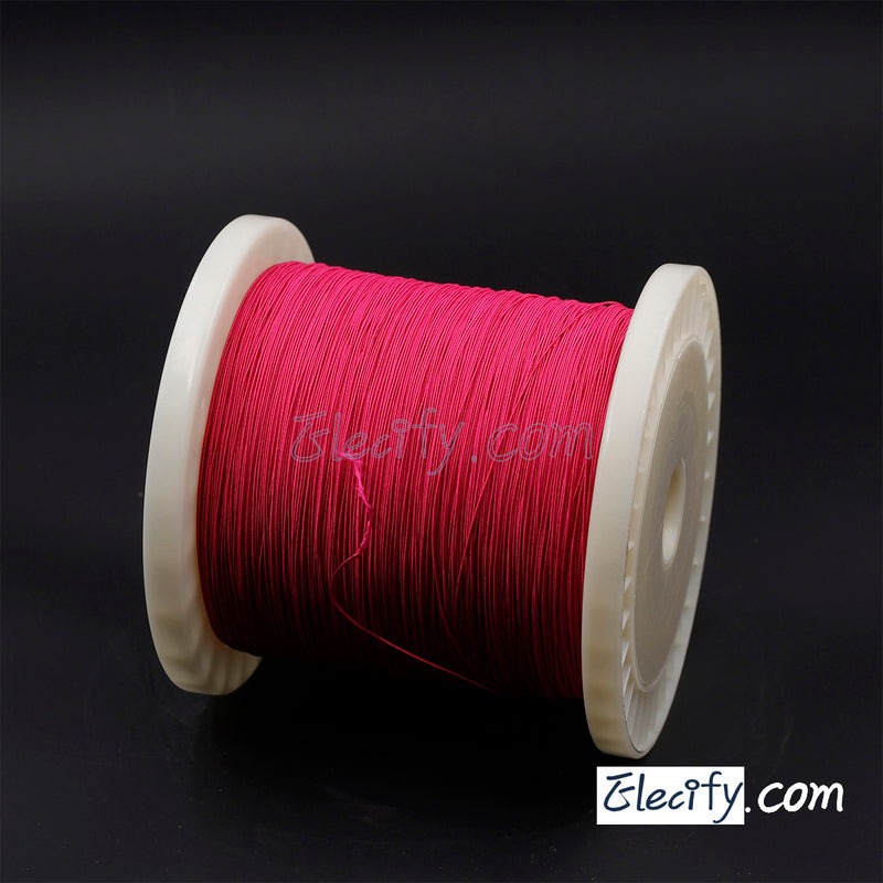 1m Natural silk LITZ WIRE 50/44AWG, 50 strands X 0.05mm, red colour