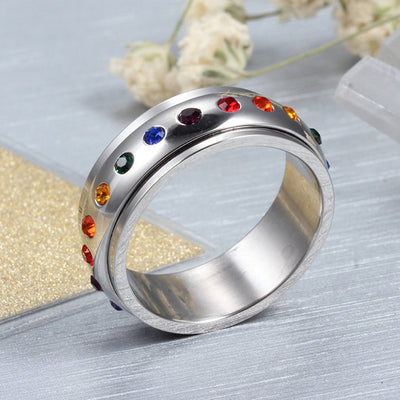 Stainless Steel Rotating Spinner Ring For Men & Women With Rainbow Crystal Multi-color Rhinestone