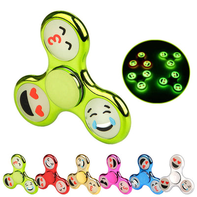 Luminous Emoji Chrome Finish Triangle Fidget Spinner - FidgetSpinners.com