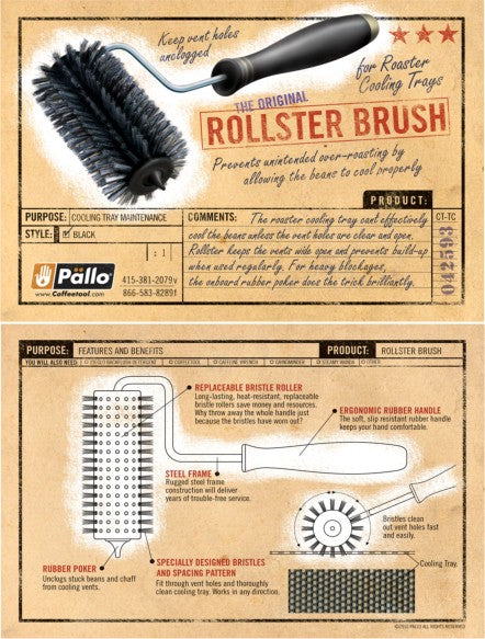 Pallo Rollster Brush for Coffee Roaster Cooling Trays