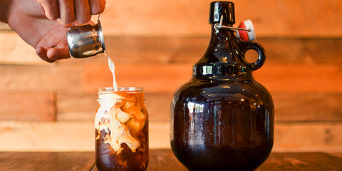 cold brew coffee on a mason jar