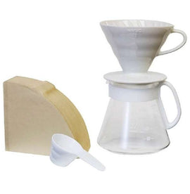 Hario V60 Ceramic Pour Over Set - White