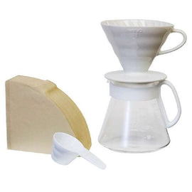 Hario V60 Ceramic Pour Over Set - White, simple, Hario - Barista Warehouse