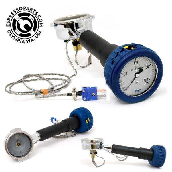 Espresso Parts Portafilter, Scace 2 With Pressure Test Gauge & Temp Probe, Pressure & Temp Test Gauge, Espresso - Barista Warehouse