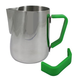Rhino Milk Pitcher Green Grip, Milk Jugs, Rhino - Barista Warehouse
