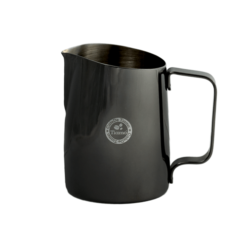 Tiamo Tapered Milk Jug 450ml - Metallic Nickel Black