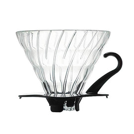 Hario Glass V60 - Black, Manual Brewing Gear, Hario - Barista Warehouse