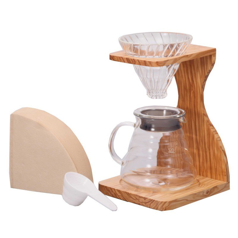 Hario V60 Pour Over Set - Olive Wood, simple, Hario - Barista Warehouse