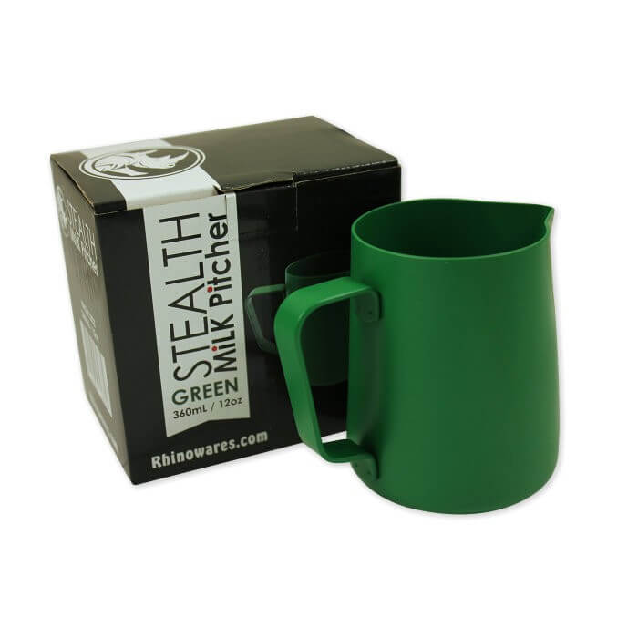 Rhino Stealth Milk Jug - 360ml/12oz - Green, simple, Rhino - Barista Warehouse