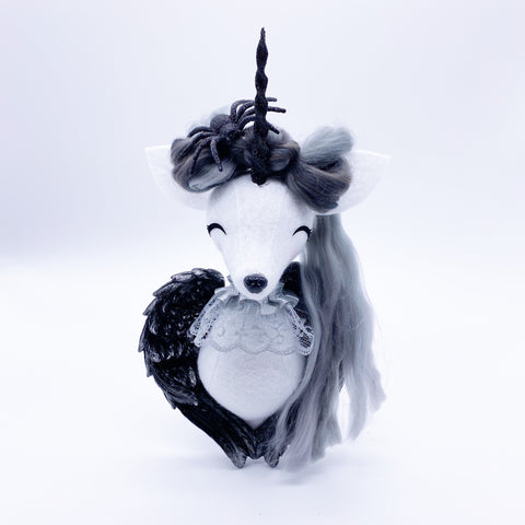 Angel Unicorn Faux Taxidermy- Black Spider