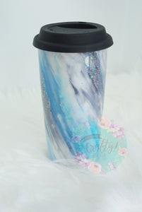 Ceramic Blue Marble Tumbler | Customize It! - The Chaotically Creative Mom