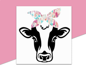 Cow with Bandana Decal - Black - The Chaotically Creative Mom