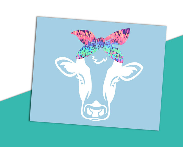 Cow with Bandana Decal - White - The Chaotically Creative Mom