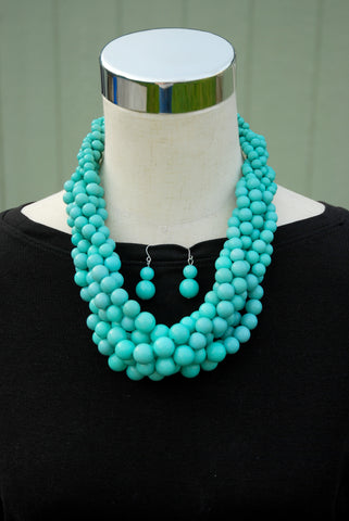 Chunky Teal Necklace and Earring Set - The Chaotically Creative Mom