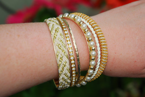 White and Gold Bracelet Set - The Chaotically Creative Mom