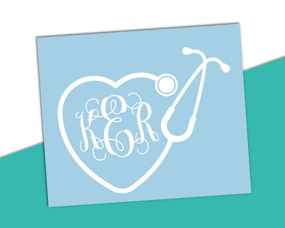 Vine Monogram - Stethoscope Heart Frame Solid Color - The Chaotically Creative Mom