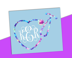 Heart Stethoscope Vine Monogram Decal - The Chaotically Creative Mom
