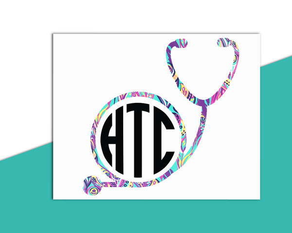 Circle Stethoscope Monogram Decal - The Chaotically Creative Mom