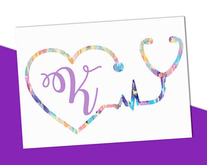 Stethoscope Monogram Decal - The Chaotically Creative Mom