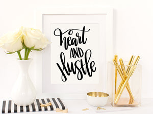 Heart and Hustle Hand Lettered SVG PNG JPEG Cutting files - The Chaotically Creative Mom