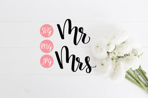 Mr Mrs Hand Lettered SVG PNG JPEG - The Chaotically Creative Mom