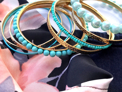 Teal and Gold Bracelet Set - The Chaotically Creative Mom