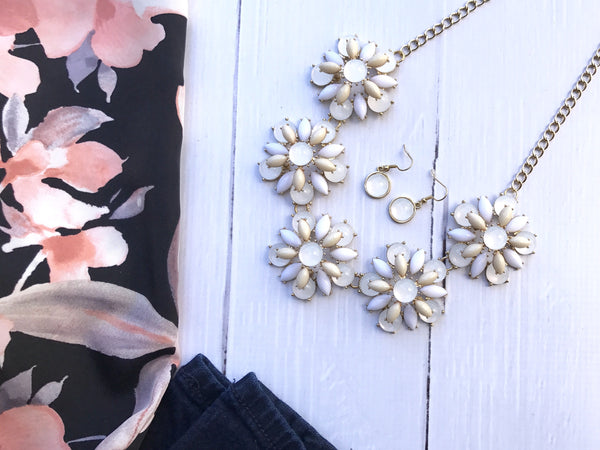 Flower Statement Necklace and Earrings Set - The Chaotically Creative Mom
