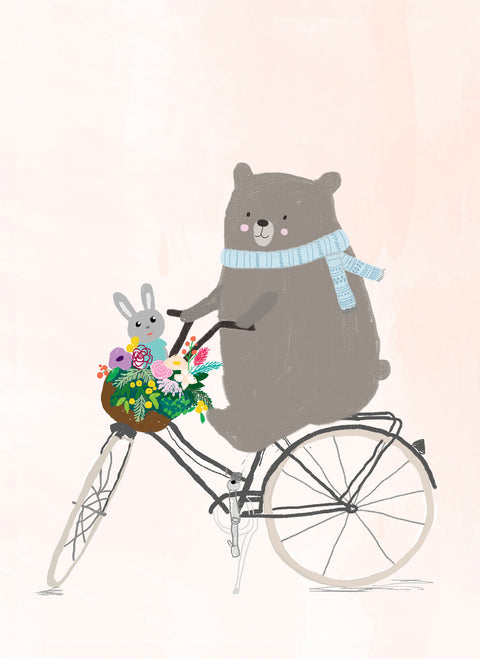 Wall Print - Bear on bike