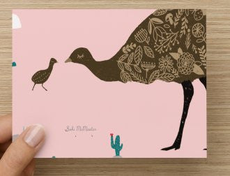 Mum and bub emu -  Blank Card