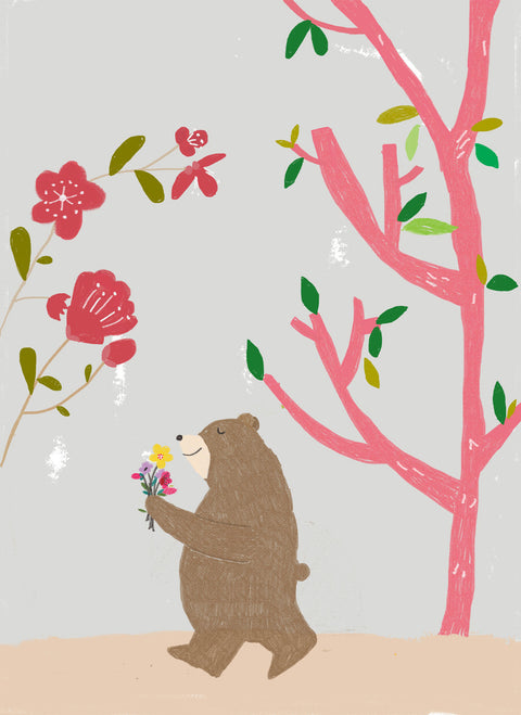 Wall Print - Bear with flowers