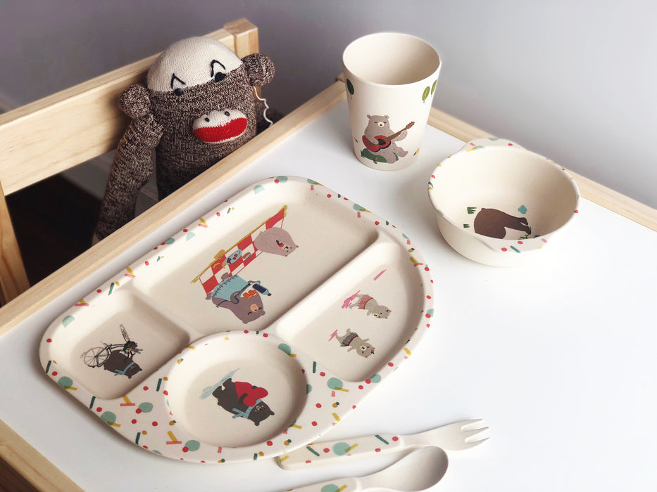 Eco-friendly Bamboo children dining set - Bear