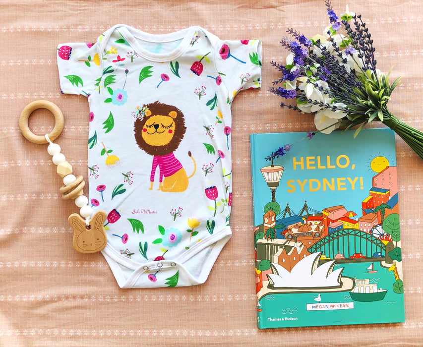 Baby Onesie - Lion and Flowers