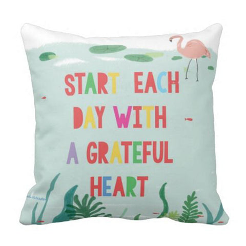 Cushion cover - Flamingo start each day with a gratful heart