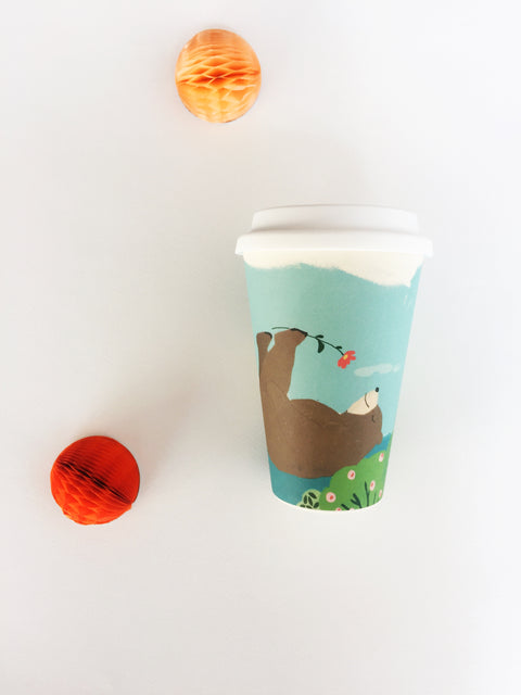 Bamboo Reusable Cup - Bear On Back