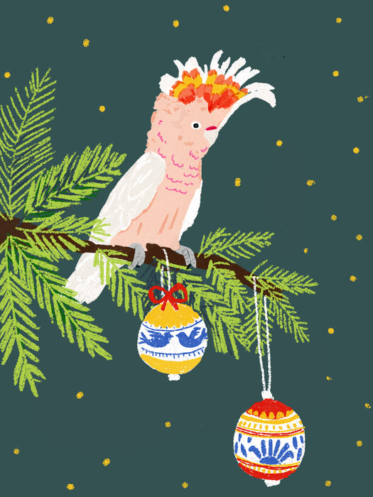 Pink Cockatoo Christmas  -  Blank Card
