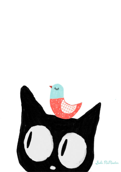 Wall Print - Cat and Bird