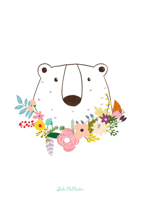 Wall Print - Bear and flowers