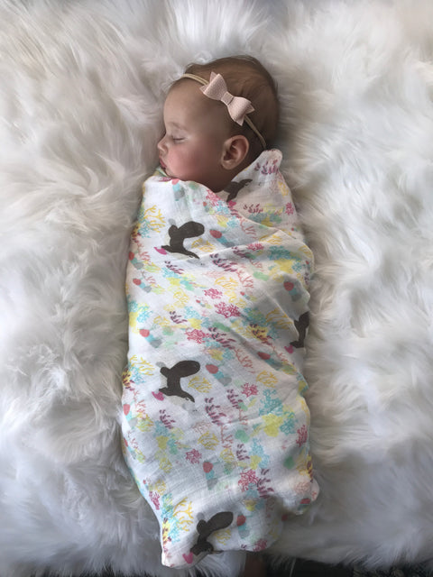Extra Large Baby Bamboo Muslin Swaddle  - Platypus Design