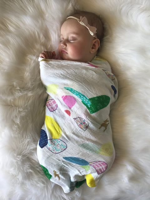 Extra Large Baby Bamboo Muslin Swaddle  - Deer Design