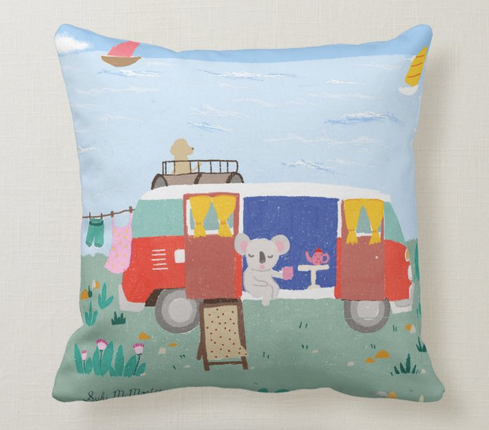 NEW Cushion Cover -  Koala and Red Kombi